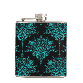 Fancy Girly Floral Damask Stylish Black and Teal Hip Flask
