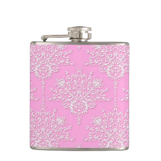 Fancy Girly Floral Damask Stylish Pink Flask