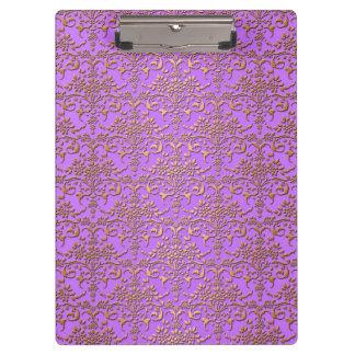 Fancy Gold and Lavender Purple Damask Pattern Clipboard