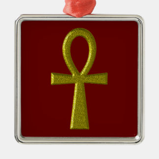 Fancy Gold Ankh Premium Square Ornament