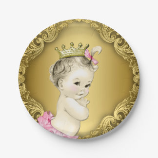 Fancy Gold Princess Baby Shower 7 Inch Paper Plate