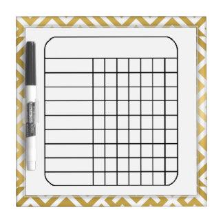 Fancy Gold & White Pattern Blank Chart Dry-Erase Boards