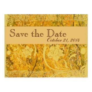 Fancy Golden Autumn Save the Date Postcard