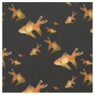 fancy goldfish on black. fabric