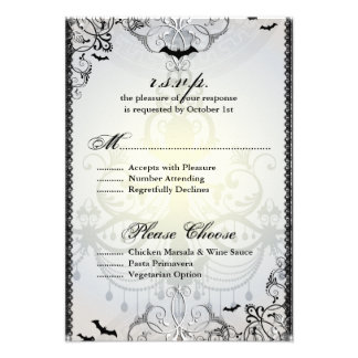 Fancy Gothic Bats Halloween Wedding RSVP Card Personalized Invites