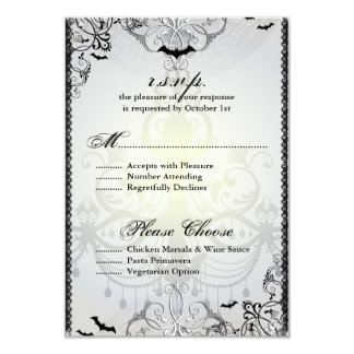 "Fancy Gothic Bats Halloween Wedding RSVP Card 3.5"" X 5"" Invitation Card"