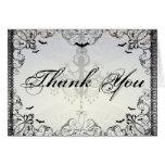 Fancy Gothic Bats Halloween Wedding thank you Greeting Card