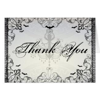 Fancy Gothic Bats Halloween Wedding thank you Card
