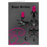 Fancy gothic candelabra in pink on grey birthday