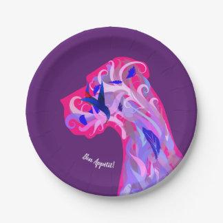 Fancy Great Dane Purple Plates