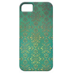 Fancy Green and Gold Damask iPhone 5 Cases