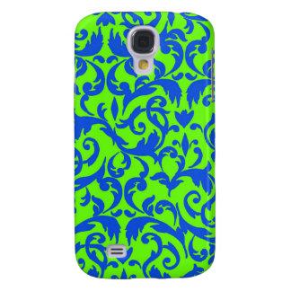 Fancy Green Blue Damask Pattern Galaxy S4 Cases