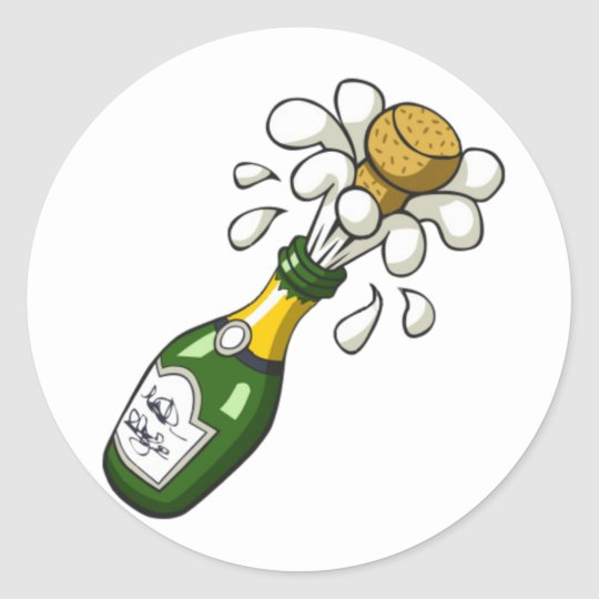 Fancy Green Cartoon Champagne Bottle Popping Cork Classic Round Sticker