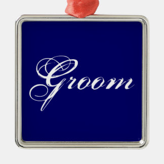 Fancy Groom on Navy Metal Ornament