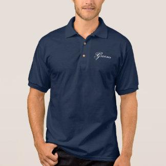 Fancy Groom on Navy Polo Shirt