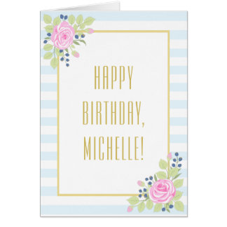 Fancy Happy Birthday Roses Blueberry Greeting Card
