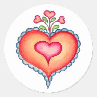 FANCY HEARTS by SHARON SHARPE Classic Round Sticker