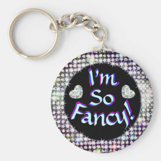 Fancy Keychain! Diamonds! Basic Round Button Key Ring