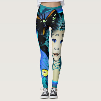 Fancy Leggings - Wrapped Image of a Fairy w. Fish