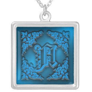 Fancy Letter A Blue Initial Necklace