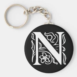Fancy Letter N Key Ring