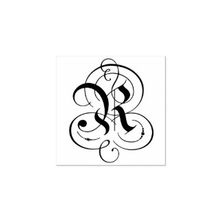 "Fancy Letter ""R"" Monogram Rubber Stamp"