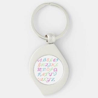 fancy letters Silver-Colored swirl key ring