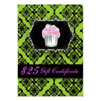 Fancy Lime Green Cupcake Bakery Gift Certificates Pack Of Chubby Business Cards