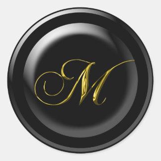 Fancy M Monogram Round Sticker