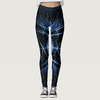 Fancy Midnight Blue Leggings with a Spiny Pattern