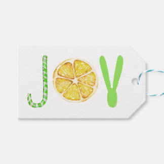 Fancy modern Christmas JOY typography script Gift Tags