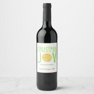 Fancy modern Christmas JOY typography script Wine Label