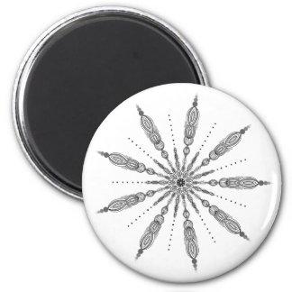 Fancy Monochromatic Circle & Oval Mandala Design 6 Cm Round Magnet
