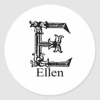 Fancy Monogram: Ellen Classic Round Sticker
