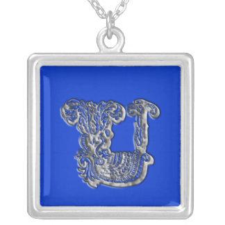 Fancy Monogram Initial U Silver Necklace