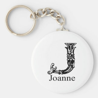 Fancy Monogram: Joanne Basic Round Button Key Ring