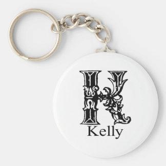 Fancy Monogram: Kelly Basic Round Button Key Ring