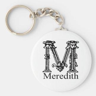 Fancy Monogram: Meredith Basic Round Button Key Ring