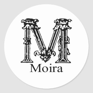 Fancy Monogram: Moira Classic Round Sticker