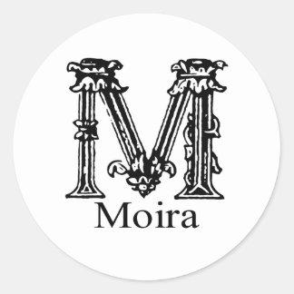 Fancy Monogram: Moira Round Sticker