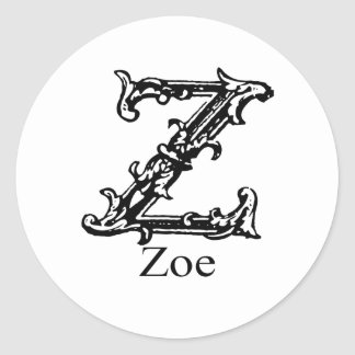 Fancy Monogram: Zoe Classic Round Sticker
