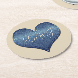 Fancy Monogrammed Denim Heart Coaster