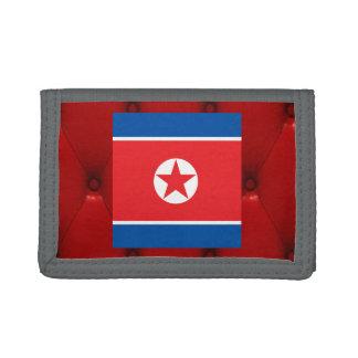 Fancy North Korea Flag on red velvet background Trifold Wallet