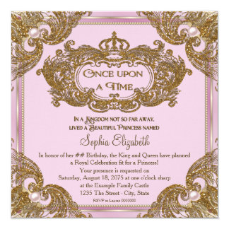Fancy Once Upon a Time Birthday Party 13 Cm X 13 Cm Square Invitation Card