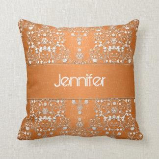 Fancy Orange Floral Damask Throw Pillow