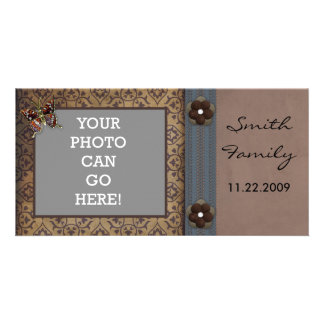 Fancy Ornate Design Flowers Butterfly Lace Photo Photo Cards