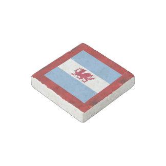 Fancy Patagonia Flag on red velvet background Stone Magnet
