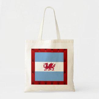 Fancy Patagonia Flag on red velvet background Budget Tote Bag