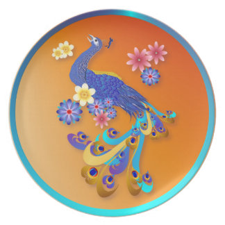 Fancy Peacock and Flowers Plate