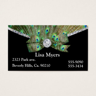 Fancy Peacock Plume & Diamonds Business Card